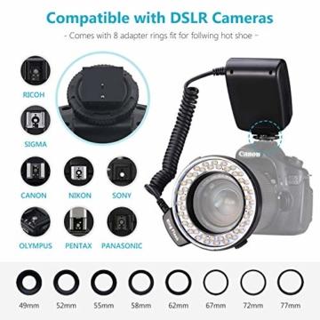 Neewer 48 Makro LED Ringblitzleuchte Set für Canon/Nikon/Panasonic/Olympus/Pentax SLR Kamera (Makro Ring Kopf, Leistungsregler mit LCD Anzeige, 4X Blitz-Diffusor, 8X Adapterring) - 6