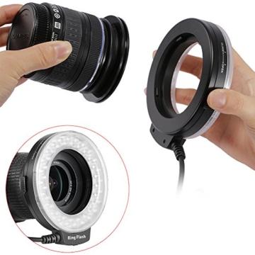 Neewer 48 Makro LED Ringblitzleuchte Set für Canon/Nikon/Panasonic/Olympus/Pentax SLR Kamera (Makro Ring Kopf, Leistungsregler mit LCD Anzeige, 4X Blitz-Diffusor, 8X Adapterring) - 7