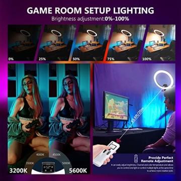 Neewer fortgeschritten 18 Zoll LED Ringlicht manuelle Touch Steuerung mit LCD Bildschirm Fernbedienung und Steuerung für Licht 3200-5600K Ständer für YouTube Video Blogger (schwarz) - 3