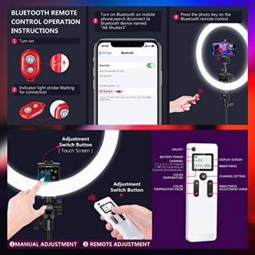 Neewer fortgeschritten 18 Zoll LED Ringlicht manuelle Touch Steuerung mit LCD Bildschirm Fernbedienung und Steuerung für Licht 3200-5600K Ständer für YouTube Video Blogger (schwarz) - 4