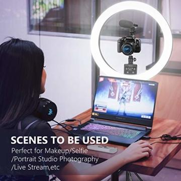 Neewer fortgeschritten 18 Zoll LED Ringlicht manuelle Touch Steuerung mit LCD Bildschirm Fernbedienung und Steuerung für Licht 3200-5600K Ständer für YouTube Video Blogger (schwarz) - 7