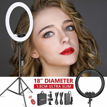 Neewer Ring Licht Set [Verbesserte Version-1,8cm Extrem Schlank] -18 Zoll, 3200-5600K, dimmbares LED-Ringlicht mit Lichtstativ, Telefonklammer, Blitzschuhadapter (Schwarz) - 1