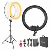 Neewer Ringleuchte (Dicke 1,8 cm) 48 cm Durchmesser, 3200-5600 K, LED-Ring zur Beleuchtung, mit Leuchtfuß, Smartphone-Halterung/Tablet-Halterung für Porträts, Make-up, Videos (schwarz) - 1