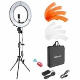 Neewer Ringleuchte Licht Set: 18 Zoll / 48 Zentimeter Außen 55W 5500K dimmbare LED-Ringlicht Lampenstativ Bluetooth-Empfänger für YouTube TikTok Self-Porträt der Videoaufnahme - 1