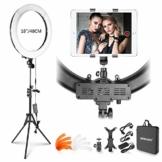 Neewer Ringlicht Set: 18 Zoll Äußeres 55 W 5500 K Dimmbares LED-Ringlicht mit Lichtstativ iPad-Klemme weichem Schlauch Farbfilter Tragetasche für YouTube Video Selfie Make-up usw. - 1