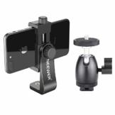 Neewer Smartphone Halter Klemme Tischstativ Halterung mit Mini Kugelkopf Blitzschuh Adapter für 14-18 Zoll Ringlicht wie iPhone Samsung Huawei Smartphone von 1,9-3,9 Zoll Breite - 1