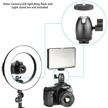 Neewer Smartphone Halter Klemme Tischstativ Halterung mit Mini Kugelkopf Blitzschuh Adapter für 14-18 Zoll Ringlicht wie iPhone Samsung Huawei Smartphone von 1,9-3,9 Zoll Breite - 3