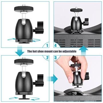 Neewer Smartphone Halter Klemme Tischstativ Halterung mit Mini Kugelkopf Blitzschuh Adapter für 14-18 Zoll Ringlicht wie iPhone Samsung Huawei Smartphone von 1,9-3,9 Zoll Breite - 5