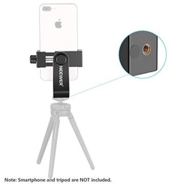 Neewer Smartphone Halter Klemme Tischstativ Halterung mit Mini Kugelkopf Blitzschuh Adapter für 14-18 Zoll Ringlicht wie iPhone Samsung Huawei Smartphone von 1,9-3,9 Zoll Breite - 6