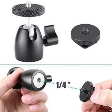 Neewer Smartphone Halter Klemme Tischstativ Halterung mit Mini Kugelkopf Blitzschuh Adapter für 14-18 Zoll Ringlicht wie iPhone Samsung Huawei Smartphone von 1,9-3,9 Zoll Breite - 8