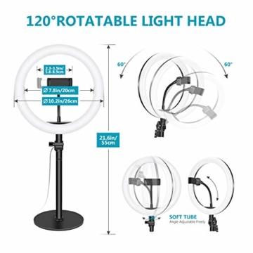 Neewer Tischplatte 10-Zoll USB LED Ringlicht Videokonferenz Beleuchtung für Videoanrufe/Selbstübertragung/YouTube/TikTok/Make-up 3200K-5600K/3 Lichtmodi/Telefonhalter(schwarz) - 3