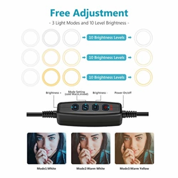 Neewer Tischplatte 10-Zoll USB LED Ringlicht Videokonferenz Beleuchtung für Videoanrufe/Selbstübertragung/YouTube/TikTok/Make-up 3200K-5600K/3 Lichtmodi/Telefonhalter(schwarz) - 4