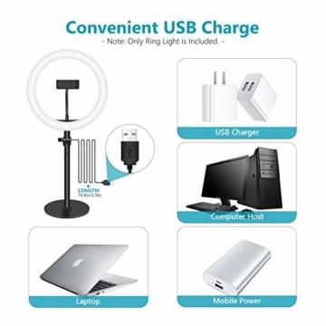 Neewer Tischplatte 10-Zoll USB LED Ringlicht Videokonferenz Beleuchtung für Videoanrufe/Selbstübertragung/YouTube/TikTok/Make-up 3200K-5600K/3 Lichtmodi/Telefonhalter(schwarz) - 5
