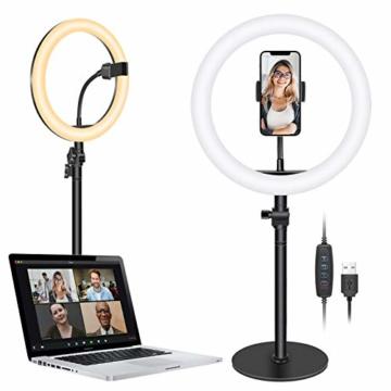 Neewer Tischplatte 10-Zoll USB LED Ringlicht Videokonferenz Beleuchtung für Videoanrufe/Selbstübertragung/YouTube/TikTok/Make-up 3200K-5600K/3 Lichtmodi/Telefonhalter(schwarz) - 1