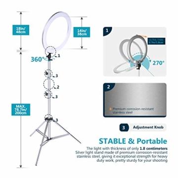 Neewer verbesserte 18 Zoll-Ringlicht Silber Metall Licht Set:42W 3200-5600K Ringlicht mit silberner Aluminiumlegierungsschale und silbernem Edelstahl Lichtstativ für Videoaufnahmen - 4