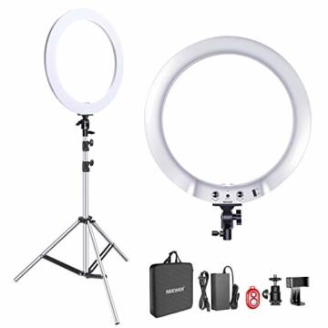 Neewer verbesserte 18 Zoll-Ringlicht Silber Metall Licht Set:42W 3200-5600K Ringlicht mit silberner Aluminiumlegierungsschale und silbernem Edelstahl Lichtstativ für Videoaufnahmen - 1