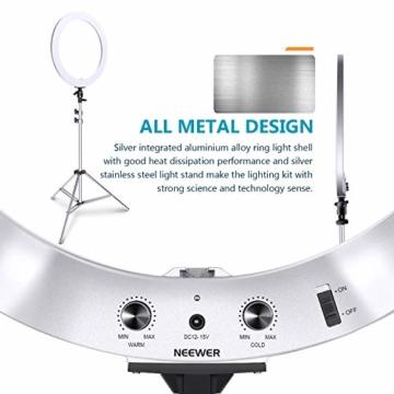 Neewer verbesserte 18 Zoll-Ringlicht Silber Metall Licht Set:42W 3200-5600K Ringlicht mit silberner Aluminiumlegierungsschale und silbernem Edelstahl Lichtstativ für Videoaufnahmen - 6