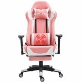 Nokaxus Gaming-Stuhl Bürostuhl Größe hohe Rückenlehne ergonomischer Rennsitz mit Massage Lendenwirbelstütze und einziehbarer Fußstütze PU-Leder 90-180 Grad Anpassung der Rückenlehne (Yk-6008-pink) - 1