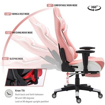 Nokaxus Gaming-Stuhl Bürostuhl Größe hohe Rückenlehne ergonomischer Rennsitz mit Massage Lendenwirbelstütze und einziehbarer Fußstütze PU-Leder 90-180 Grad Anpassung der Rückenlehne (Yk-6008-pink) - 3
