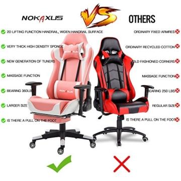 Nokaxus Gaming-Stuhl Bürostuhl Größe hohe Rückenlehne ergonomischer Rennsitz mit Massage Lendenwirbelstütze und einziehbarer Fußstütze PU-Leder 90-180 Grad Anpassung der Rückenlehne (Yk-6008-pink) - 5