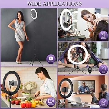 Ringlicht mit 2 Stativ, 12 Zoll/30.5CM Ringleuchte mit stativ für Handy, Tischringlicht Arbeiten Sie mit Handy & DSLR-Kamera für Selfie, Make-up, Live-Streaming, YouTube, Tik Tok Vlog, Fotografie - 2