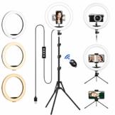Ringlicht mit 2 Stativ, 12 Zoll/30.5CM Ringleuchte mit stativ für Handy, Tischringlicht Arbeiten Sie mit Handy & DSLR-Kamera für Selfie, Make-up, Live-Streaming, YouTube, Tik Tok Vlog, Fotografie - 1