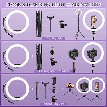 Ringlicht mit 2 Stativ, 12 Zoll/30.5CM Ringleuchte mit stativ für Handy, Tischringlicht Arbeiten Sie mit Handy & DSLR-Kamera für Selfie, Make-up, Live-Streaming, YouTube, Tik Tok Vlog, Fotografie - 5