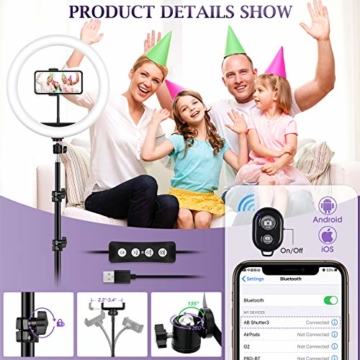 Ringlicht mit 2 Stativ, 12 Zoll/30.5CM Ringleuchte mit stativ für Handy, Tischringlicht Arbeiten Sie mit Handy & DSLR-Kamera für Selfie, Make-up, Live-Streaming, YouTube, Tik Tok Vlog, Fotografie - 6