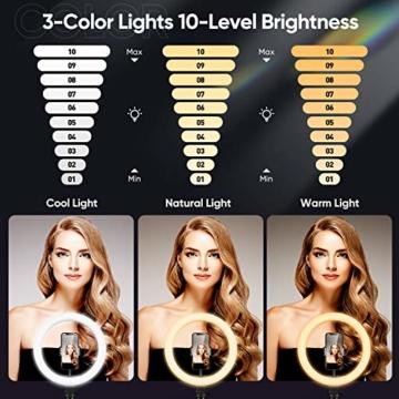 Ringlicht mit Stativ 12.8 Zoll und Telefonhalter, 3 Farbe Dimmbarer LED-Kameralichtring und 10 Helligkeitsstufen für Live-Streaming/Vlog /YouTube /TikTok/Make-up, kompatibel mit iPhone/Android-Handys - 2