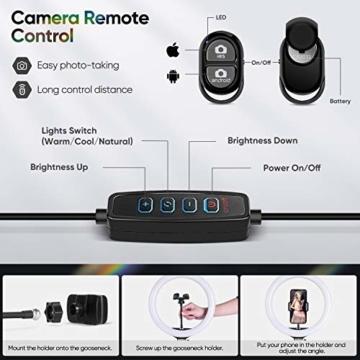 Ringlicht mit Stativ 12.8 Zoll und Telefonhalter, 3 Farbe Dimmbarer LED-Kameralichtring und 10 Helligkeitsstufen für Live-Streaming/Vlog /YouTube /TikTok/Make-up, kompatibel mit iPhone/Android-Handys - 3