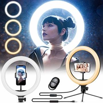 Ringlicht mit Stativ 12.8 Zoll und Telefonhalter, 3 Farbe Dimmbarer LED-Kameralichtring und 10 Helligkeitsstufen für Live-Streaming/Vlog /YouTube /TikTok/Make-up, kompatibel mit iPhone/Android-Handys - 1