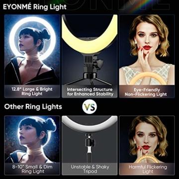 Ringlicht mit Stativ 12.8 Zoll und Telefonhalter, 3 Farbe Dimmbarer LED-Kameralichtring und 10 Helligkeitsstufen für Live-Streaming/Vlog /YouTube /TikTok/Make-up, kompatibel mit iPhone/Android-Handys - 5