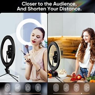 Ringlicht mit Stativ 12.8 Zoll und Telefonhalter, 3 Farbe Dimmbarer LED-Kameralichtring und 10 Helligkeitsstufen für Live-Streaming/Vlog /YouTube /TikTok/Make-up, kompatibel mit iPhone/Android-Handys - 6