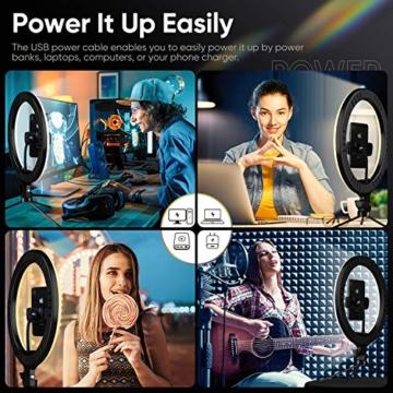 Ringlicht mit Stativ 12.8 Zoll und Telefonhalter, 3 Farbe Dimmbarer LED-Kameralichtring und 10 Helligkeitsstufen für Live-Streaming/Vlog /YouTube /TikTok/Make-up, kompatibel mit iPhone/Android-Handys - 7
