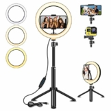 """Ringlicht,SYOSIN 8"""" LED Selfie Ringleuchte mit Extendable Stativ, 3 Farbe und 10 Helligkeitsstufe Dimmbare Tischringlicht für Tiktok Make-up YouTube Live-Streaming - 1"""