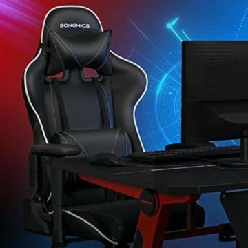 SONGMICS Gamingstuhl, Bürostuhl mit hoher Rückenlehne, Computerstuhl, Racing Chair, gepolsterter Sitz, Kopfstütze und Lendenkissen verstellbar, fürs Büro, Arbeitszimmer, schwarz RCG47BK - 2