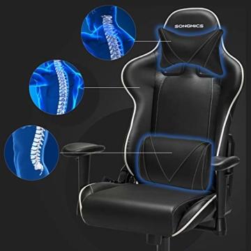 SONGMICS Gamingstuhl, Bürostuhl mit hoher Rückenlehne, Computerstuhl, Racing Chair, gepolsterter Sitz, Kopfstütze und Lendenkissen verstellbar, fürs Büro, Arbeitszimmer, schwarz RCG47BK - 3