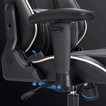 SONGMICS Gamingstuhl, Bürostuhl mit hoher Rückenlehne, Computerstuhl, Racing Chair, gepolsterter Sitz, Kopfstütze und Lendenkissen verstellbar, fürs Büro, Arbeitszimmer, schwarz RCG47BK - 4