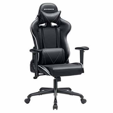 SONGMICS Gamingstuhl, Bürostuhl mit hoher Rückenlehne, Computerstuhl, Racing Chair, gepolsterter Sitz, Kopfstütze und Lendenkissen verstellbar, fürs Büro, Arbeitszimmer, schwarz RCG47BK - 1