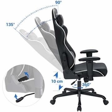 SONGMICS Gamingstuhl, Bürostuhl mit hoher Rückenlehne, Computerstuhl, Racing Chair, gepolsterter Sitz, Kopfstütze und Lendenkissen verstellbar, fürs Büro, Arbeitszimmer, schwarz RCG47BK - 5