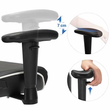 SONGMICS Gamingstuhl, Bürostuhl mit hoher Rückenlehne, Computerstuhl, Racing Chair, gepolsterter Sitz, Kopfstütze und Lendenkissen verstellbar, fürs Büro, Arbeitszimmer, schwarz RCG47BK - 6