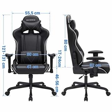 SONGMICS Gamingstuhl, Bürostuhl mit hoher Rückenlehne, Computerstuhl, Racing Chair, gepolsterter Sitz, Kopfstütze und Lendenkissen verstellbar, fürs Büro, Arbeitszimmer, schwarz RCG47BK - 7
