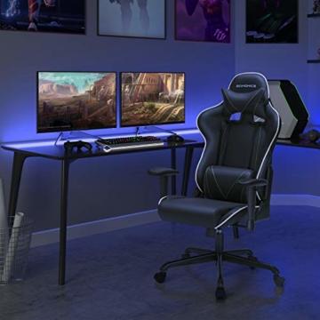 SONGMICS Gamingstuhl, Bürostuhl mit hoher Rückenlehne, Computerstuhl, Racing Chair, gepolsterter Sitz, Kopfstütze und Lendenkissen verstellbar, fürs Büro, Arbeitszimmer, schwarz RCG47BK - 8