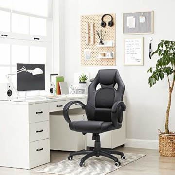 SONGMICS Racing Stuhl Bürostuhl Gaming Stuhl Chefsessel Drehstuhl PU, schwarz, OBG56B - 2