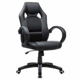 SONGMICS Racing Stuhl Bürostuhl Gaming Stuhl Chefsessel Drehstuhl PU, schwarz, OBG56B - 1