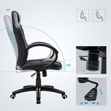 SONGMICS Racing Stuhl Bürostuhl Gaming Stuhl Chefsessel Drehstuhl PU, schwarz, OBG56B - 4