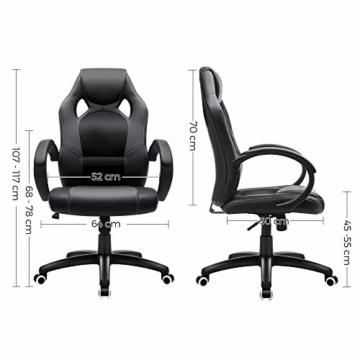 SONGMICS Racing Stuhl Bürostuhl Gaming Stuhl Chefsessel Drehstuhl PU, schwarz, OBG56B - 5