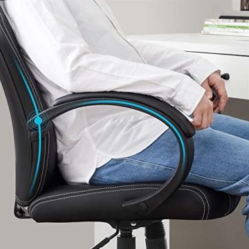 SONGMICS Racing Stuhl Bürostuhl Gaming Stuhl Chefsessel Drehstuhl PU, schwarz, OBG56B - 6