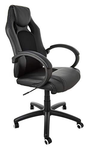 SONGMICS Racing Stuhl Bürostuhl Gaming Stuhl Chefsessel Drehstuhl PU, schwarz, OBG56B - 10