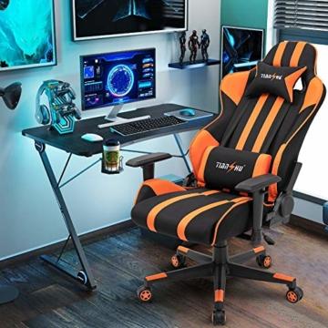 TIANSHU Gaming Stuhl Hochlehner Computerspielstuhl Bürostuhl PP Stoff & PU Leder Rennstuhl PC Ergonomischer Stuhl mit Kopfstütze und verstellbarem Lendenkissen Drehstuhl E-Sports Stuhl, Orange - 2